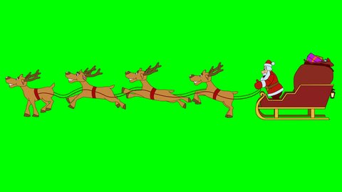 Animated Santa Claus goes fast christmas sleigh. Side view. Looping hand drawn animation 4K with alpha channel