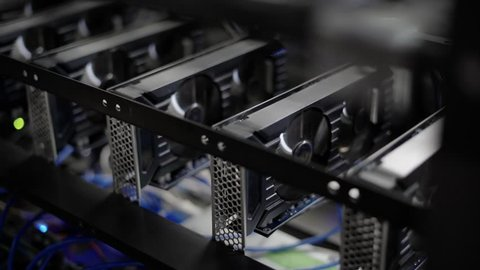 GPU Video Graphics Card mining. Industrial mining farm for bitcoin and cryptocurrency money.