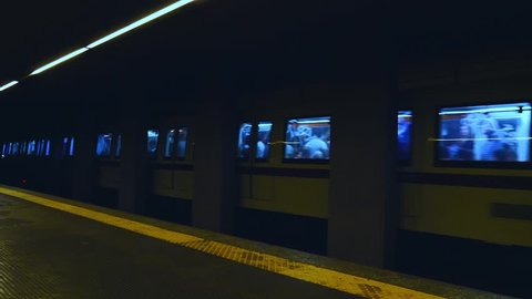 metro subway trains pass by station rome
