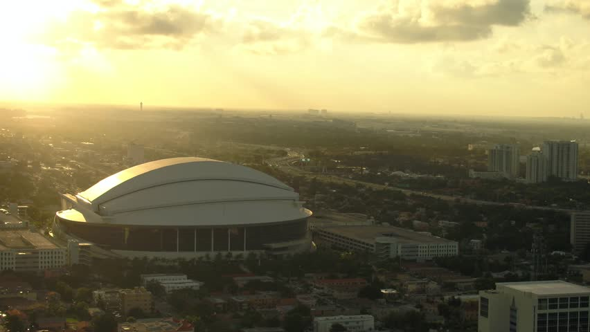 MIAMI, FLORIDA, USA - SEPTEMBER 6, 2018: Marlins Park at sunset aerial footage 4k 60p