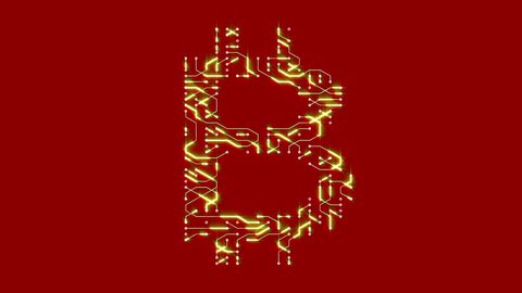 4k a futuristic circuit board with moving electrons shaped bitcoin currency sign,block chain,abstract electronic connections,Cripto currency bitcoin.Global internet finance,worldwide. cg_04775_4k