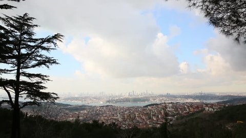 Aerial viewpoint of Istanbul, Istanbul bosphorus, general overview of Istanbul from Camlica hill, skyscrapers seen remote time lapse