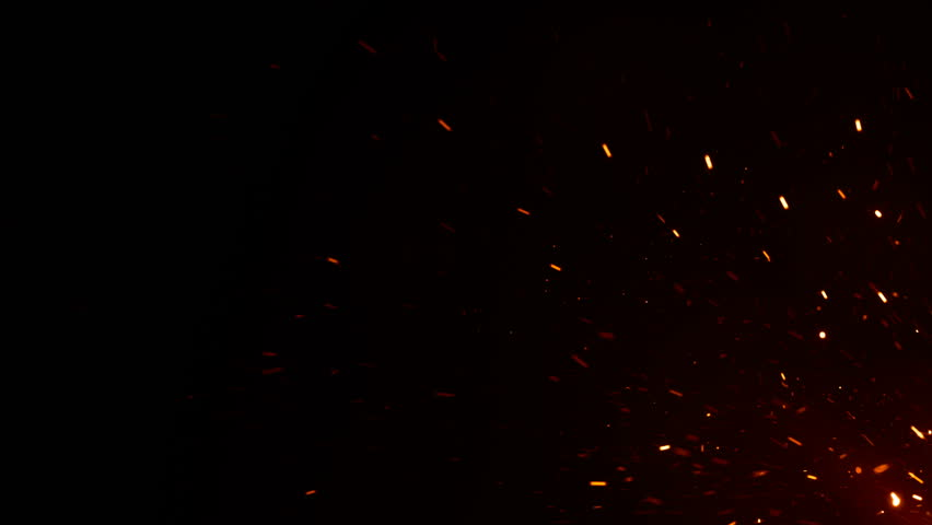 Beautiful Burning Hot Sparks Rising from Large Fire in Night Sky. Abstract Isolated Fire Glowing Particles on Black Background Flying Up. Looped 3d Animation. Moving from Corner. 4k UHD 3840x2160.