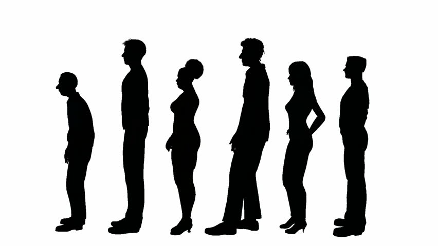 Animated people in silhouettes standing in line.