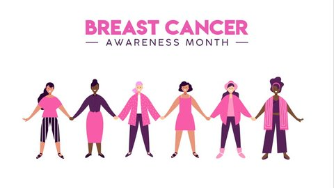 Breast Cancer Awareness month animation, happy women friend group together for health support. 2d concept footage of presentation, campaign template.