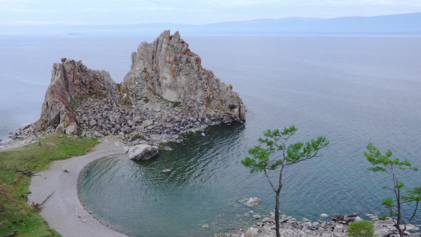Cape Burkhan (rock Shamanka) on the Olkhon island, Lake Baikal