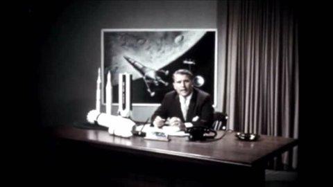 CIRCA 1960s - Space architect Wernher von Braun speaks in an office at the George C. Marshall Space Flight Center in Huntsville, Alabama.