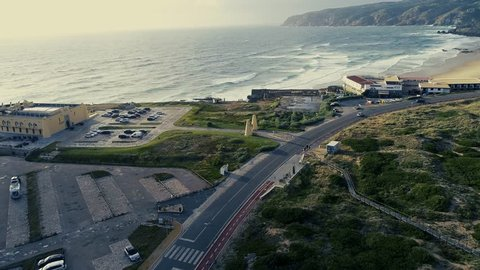 Aerial view of coastline road and Beautiful drive through coastal road along beach. Portugal.