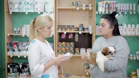 Pomeranian dog with his owner at pet shop.