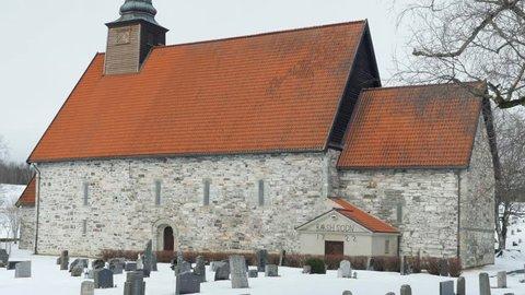 Stiklestad kirke (Stiklestad Church) in Trondheim, Norway, close