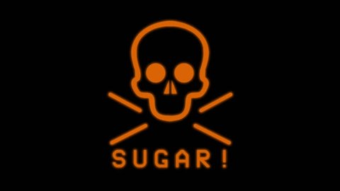 The Dangers of Sugar. A 3D render of flashing orange neon sign.