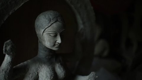 An idol of Indian Goddess Maa Laxmi is being made with clay in India for the preparation of upcoming Hindu festival Durga Puja