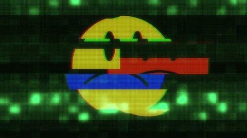 sad smile face symbol seamless loop glitch interference animation new dynamic retro joyful colorful retro vintage video footage