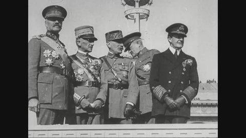 CIRCA 1920s - Marshal Ferdinand Foch, Admiral David Beatty and Generals John Pershing, Armando Diaz and Alphonse Jacques de Dixmude.