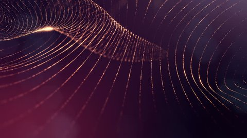 Dark composition with oscillating luminous golden red particles that form wavy surface. Smooth animation looped. Abstract background of glowing particles with shining bokeh sparkles. science fiction 8