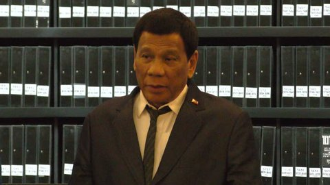 President of the Philippines Duterte addressing the press in The Hall of Names in Yad Vashem, the World Holocaust Remembrance Center, Jerusalem, Israel, Sept 3, 2018