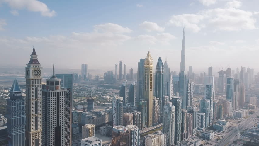 High skyscrapers in the center of Dubai. View from the drone