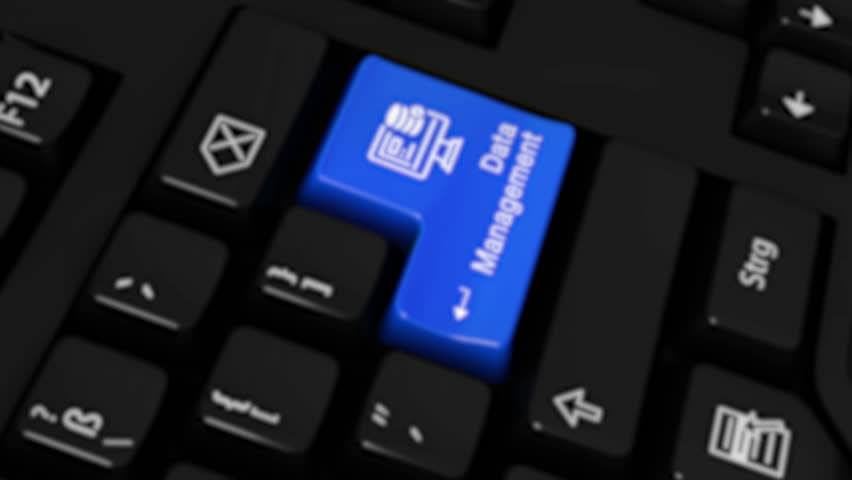 47. Data Management Rotation Motion On Blue Enter Button On Modern Computer Keyboard with Text and icon Labeled. Selected Focus Key is Pressing Animation. Technology Security Concept