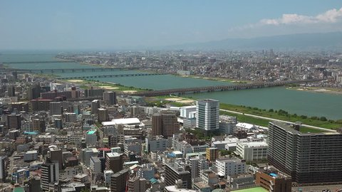 City and river of Osaka from the air