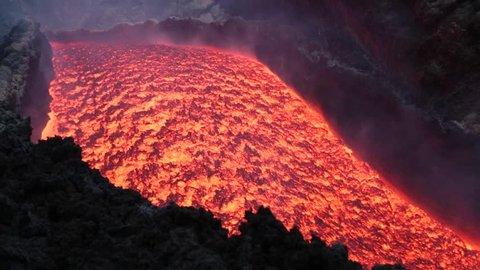 Lava flow on the volcano Etna. Sicily,Italy
