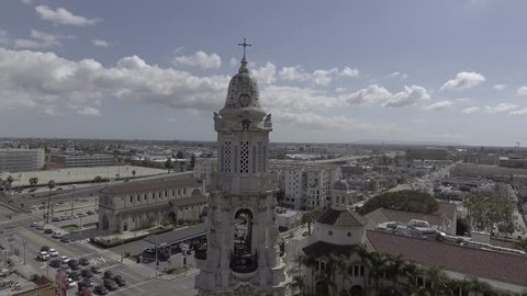 Aerial View Flying into Religious Building and circling Bell Tower