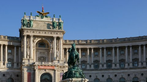 Hyper lapse of Imperial Palace Hofburg and Statue of Prince Eugene of Savoy, Vienna, Austria