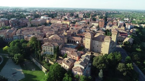 Aerial video of the Vignola town (Modena)  and view of the Vignola castle located in the town of the same name on the banks of the Panaro river