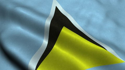 Photorealistic 4k Close up of saint-lucia flag slow waving with visible wrinkles and realistic fabric. 15 seconds 4K, Ultra HD resolution saint-lucia flag animation.