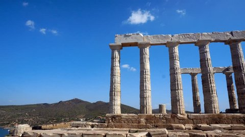 ancient Greek ruins of the Temple of the god Poseidon