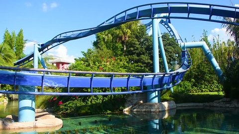Orlando, Florida. September 18, 2018. Beautiful Manta Ray rollercoaster at Seaworld.Sea World is an ocean animal theme park.