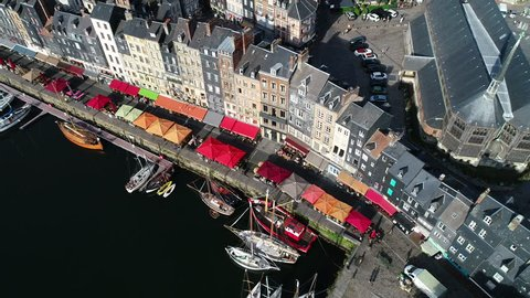 France, Normandy, Aerial view of Honfleur and its picturesque harbour, old basin and the quai Sainte Catherine