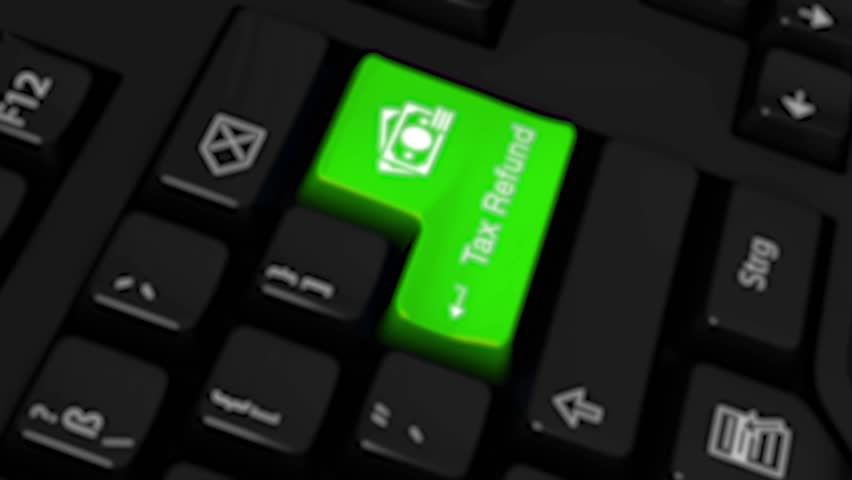 Tax Refund Rotation Motion On Green Enter Button On Modern Computer Keyboard with Text and icon Labeled. Selected Focus Key is Pressing Animation. Business Tax Accounting
