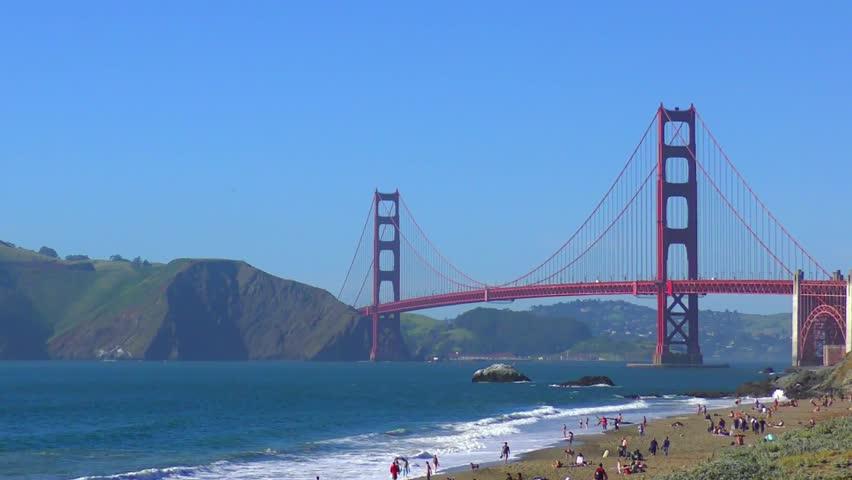 The Golden Gate Bridge as seen from Baker Beach, San Francisco, California, USA