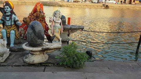 Idols on Ganges river bank at Haridwar, India