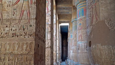 Temple of Medinet Habu. Egypt, Luxor. The Mortuary Temple of Ramesses III at Medinet Habu is an important New Kingdom period structure in the West Bank of Luxor in Egypt.