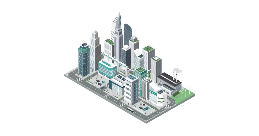 Isometric contemporary city with skyscrapers, people and cars building on white background, alpha channel