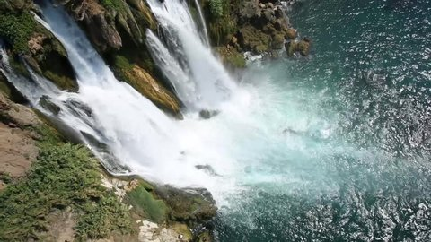 waterfall flowing from cliff in antalya