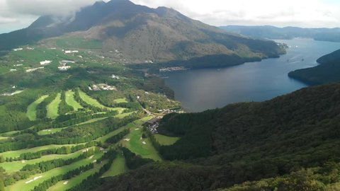 Aerial view of lake Ashi and golf course, Hakone, Japan