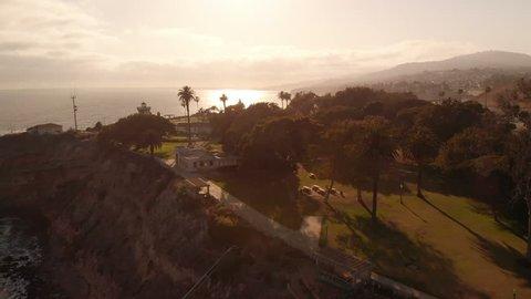 Aerial Coastal San Pedro and Pt Fermin Lighthouse California
