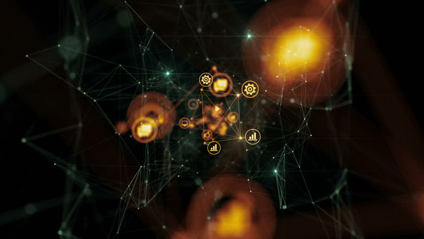 Icons Flying in Abstract Space Connected with Global Network with Lights. Beautiful Looped 3d Animation. Digital Technology and Information Concept. 4k Ultra HD 3840x2160. | Shutterstock HD Video #1016932279