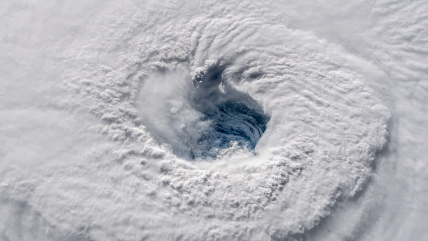Hurrican Florence eye satellite view rotating clouds animation. Contains public domain image by Nasa | Shutterstock HD Video #1016979409