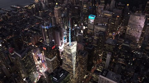 New York City Circa-2015, aerial view over One Bryant Park at night with Times Square and Hell's Kitchen in the background