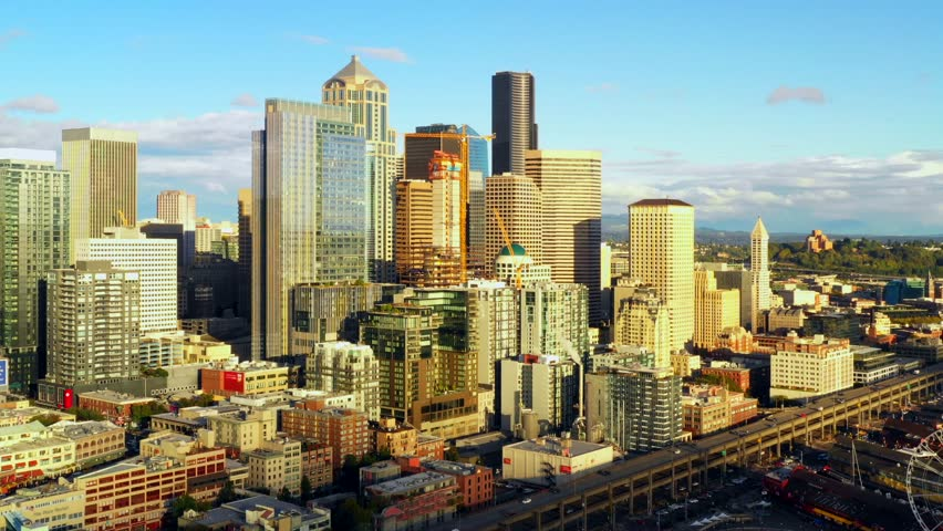 Aerial push in video footage Downtown Seattle Washington 4k