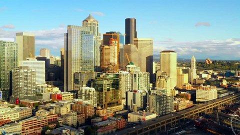 Aerial push in video footage Downtown Seattle Washington 4k