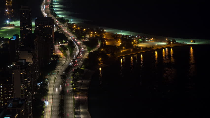 Chicago North Avenue Beach and Lake Shore Dr at Night Aerial Timelapse