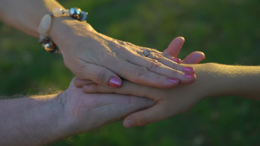 hands of grandfather, grandmother and grandson in the park at sunset, 4k 1 | Shutterstock HD Video #1017084199