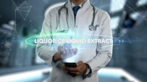 LIQUORICE LIQUID EXTRACT - Male Doctor With Mobile Phone Opens and Touches Hologram Active Ingrident of Medicine