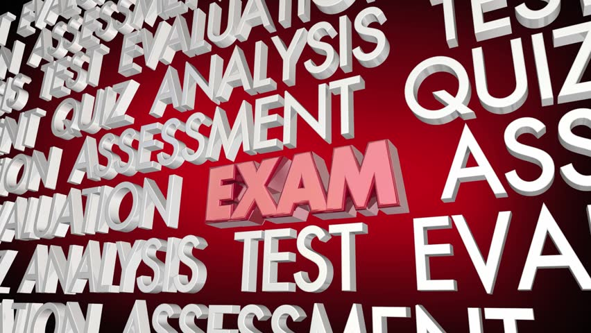Exam Test Evaluation Quiz Assessment Word Collage 3d Animation | Shutterstock HD Video #1017105769