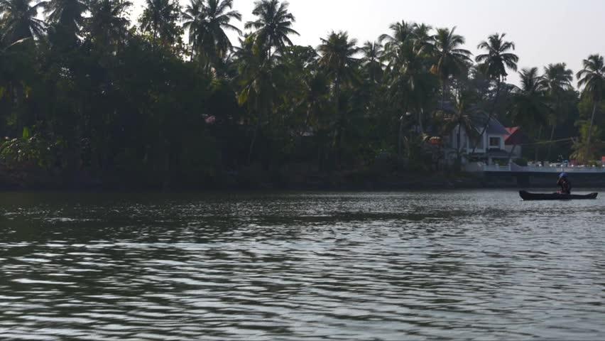 Kerala fisherman.Someone fishing on backwater . A beautiful visual from Kerala backwater