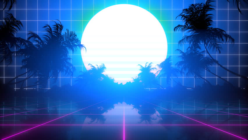 80's style seamlessly looping 3D moon animation with palm trees